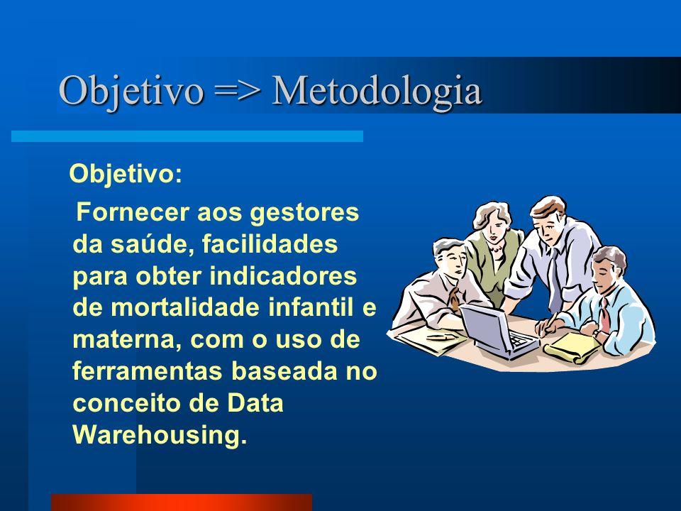 Objetivo => Metodologia Objetivo: Fornecer aos gestores da saúde, facilidades para obter indicadores de mortalidade infantil e materna, com o uso de ferramentas baseada no conceito de Data Warehousing.