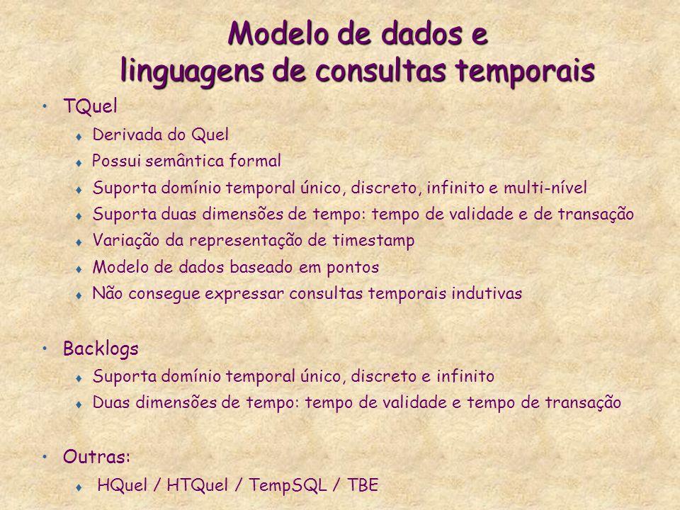 Modelo de dados e linguagens de consultas temporais TQuel t Derivada do Quel t Possui semântica formal t Suporta domínio temporal único, discreto, inf