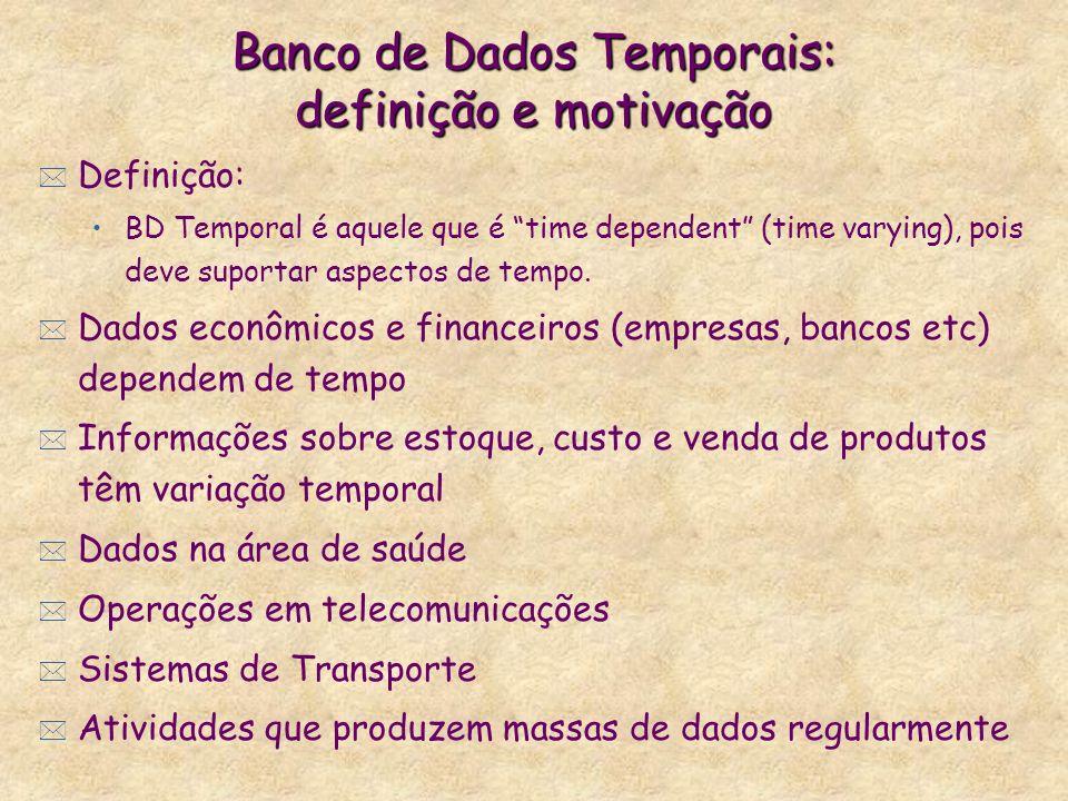 Banco de Dados Temporais: definição e motivação * Definição: BD Temporal é aquele que é time dependent (time varying), pois deve suportar aspectos de