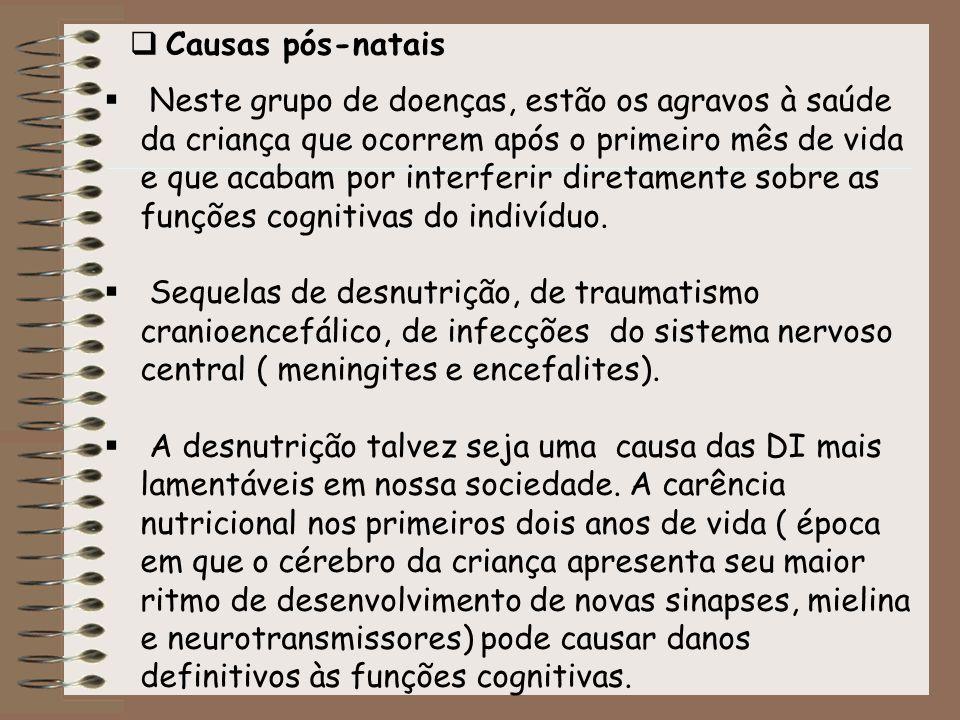 Causas pós-natais Neste grupo de doenças, estão os agravos à saúde da criança que ocorrem após o primeiro mês de vida e que acabam por interferir dire