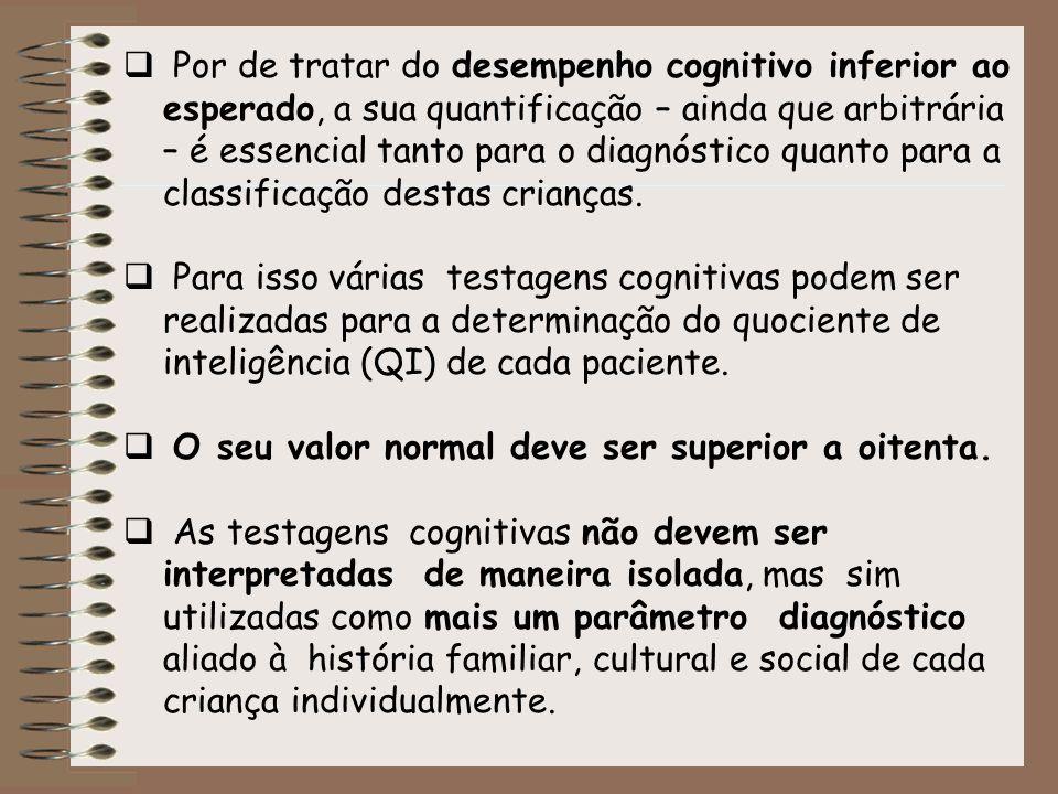 Por de tratar do desempenho cognitivo inferior ao esperado, a sua quantificação – ainda que arbitrária – é essencial tanto para o diagnóstico quanto p
