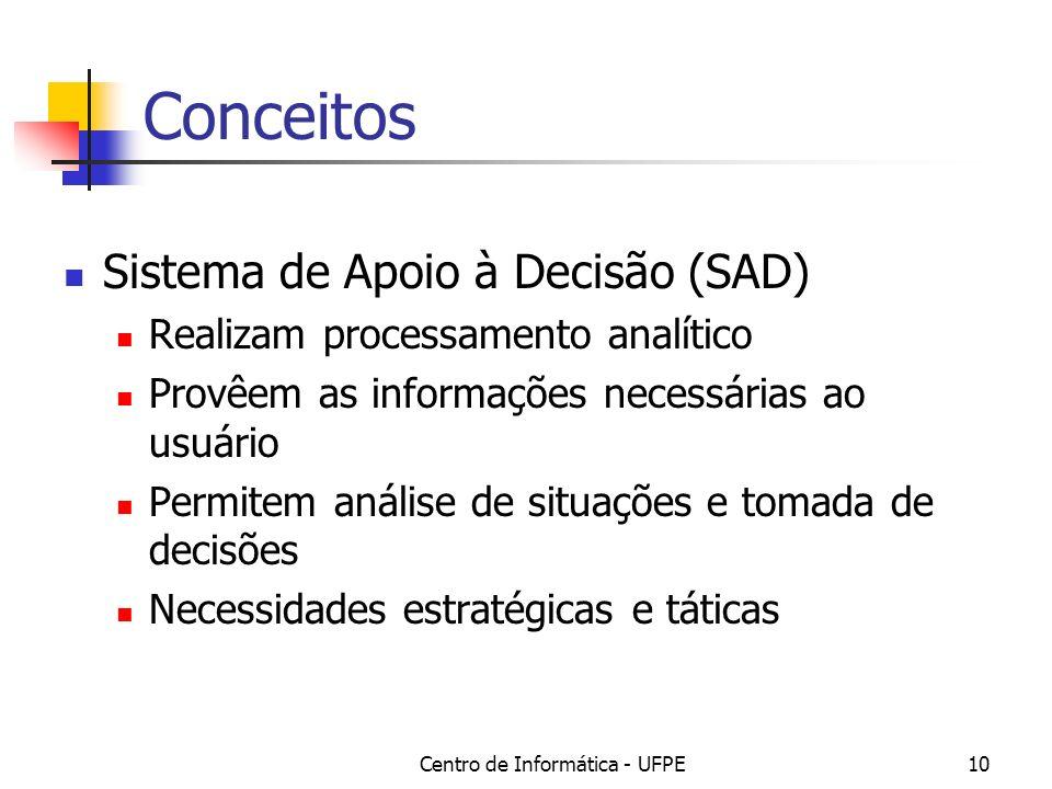 Centro de Informática - UFPE10 Conceitos Sistema de Apoio à Decisão (SAD) Realizam processamento analítico Provêem as informações necessárias ao usuár