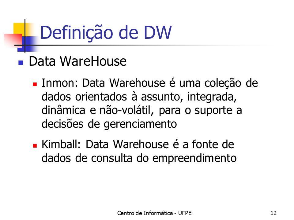 Centro de Informática - UFPE12 Definição de DW Data WareHouse Inmon: Data Warehouse é uma coleção de dados orientados à assunto, integrada, dinâmica e