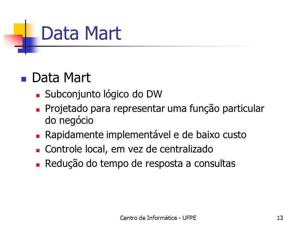 Centro de Informática - UFPE13 Data Mart Subconjunto lógico do DW Projetado para representar uma função particular do negócio Rapidamente implementável e de baixo custo Controle local, em vez de centralizado Redução do tempo de resposta a consultas