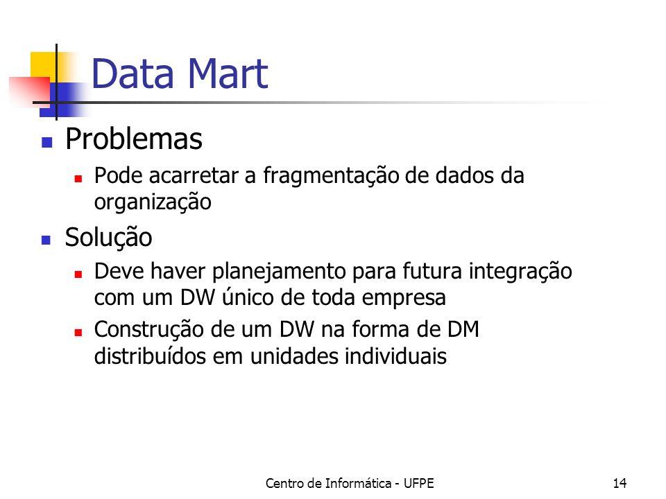Centro de Informática - UFPE14 Data Mart Problemas Pode acarretar a fragmentação de dados da organização Solução Deve haver planejamento para futura integração com um DW único de toda empresa Construção de um DW na forma de DM distribuídos em unidades individuais