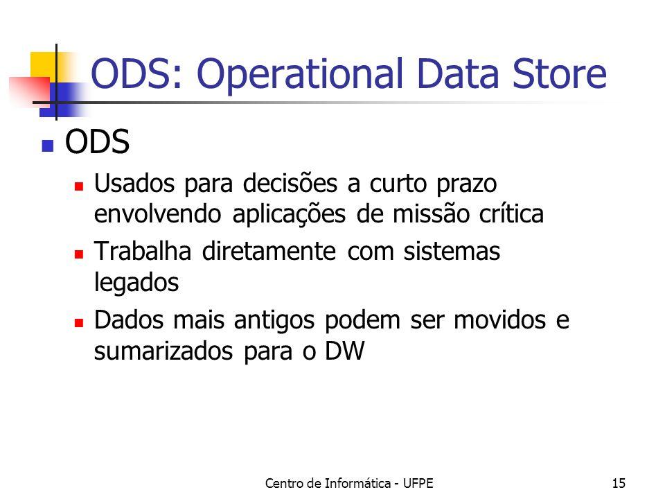 Centro de Informática - UFPE15 ODS: Operational Data Store ODS Usados para decisões a curto prazo envolvendo aplicações de missão crítica Trabalha diretamente com sistemas legados Dados mais antigos podem ser movidos e sumarizados para o DW