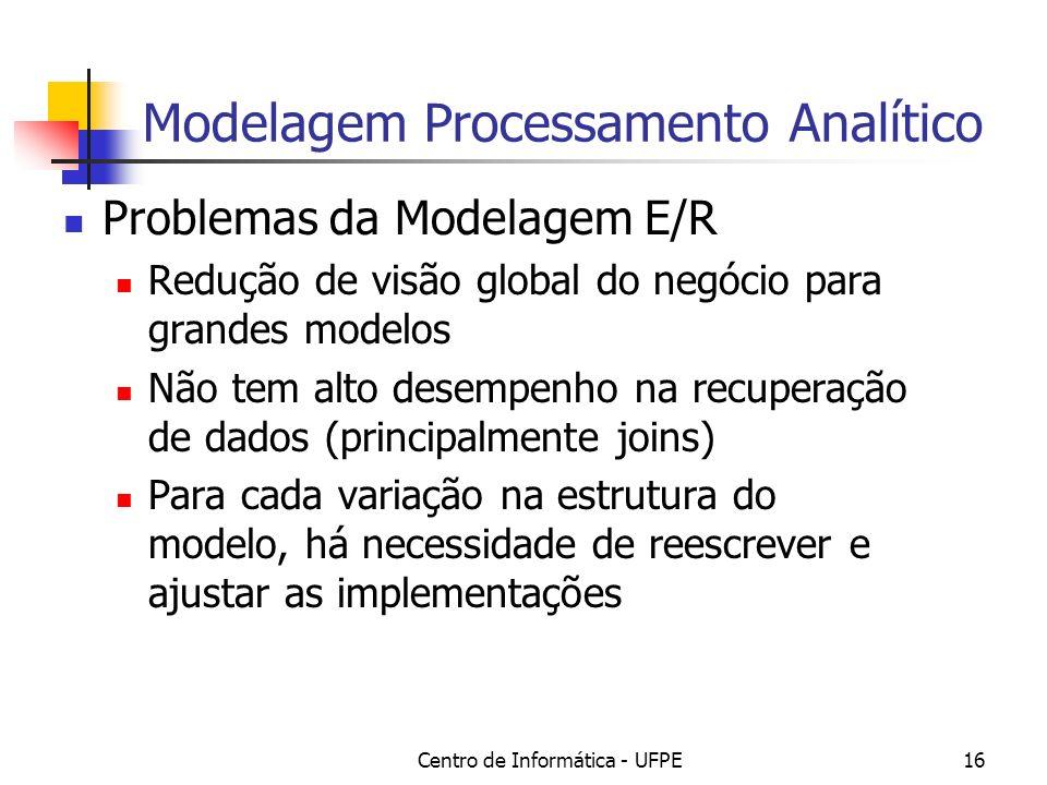 Centro de Informática - UFPE16 Modelagem Processamento Analítico Problemas da Modelagem E/R Redução de visão global do negócio para grandes modelos Não tem alto desempenho na recuperação de dados (principalmente joins) Para cada variação na estrutura do modelo, há necessidade de reescrever e ajustar as implementações