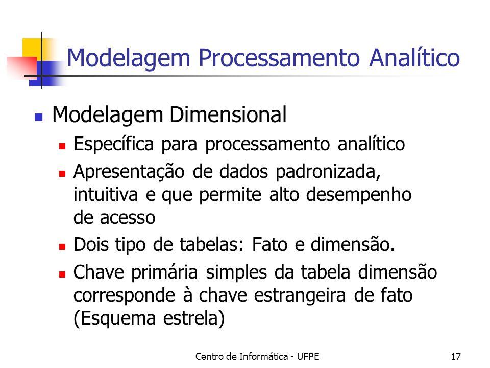 Centro de Informática - UFPE17 Modelagem Processamento Analítico Modelagem Dimensional Específica para processamento analítico Apresentação de dados padronizada, intuitiva e que permite alto desempenho de acesso Dois tipo de tabelas: Fato e dimensão.