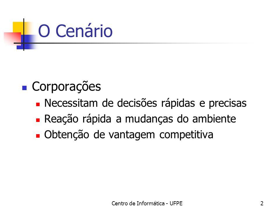 Centro de Informática - UFPE2 O Cenário Corporações Necessitam de decisões rápidas e precisas Reação rápida a mudanças do ambiente Obtenção de vantage