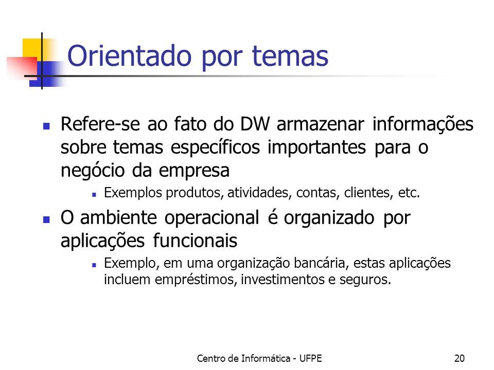Centro de Informática - UFPE20 Orientado por temas Refere-se ao fato do DW armazenar informações sobre temas específicos importantes para o negócio da empresa Exemplos produtos, atividades, contas, clientes, etc.