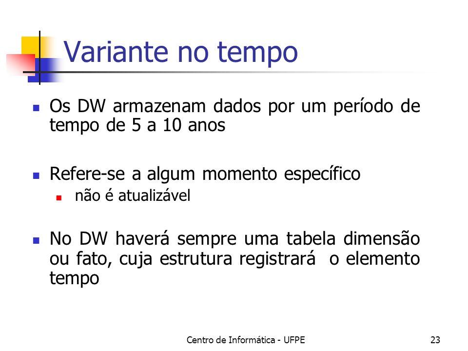 Centro de Informática - UFPE23 Variante no tempo Os DW armazenam dados por um período de tempo de 5 a 10 anos Refere-se a algum momento específico não é atualizável No DW haverá sempre uma tabela dimensão ou fato, cuja estrutura registrará o elemento tempo