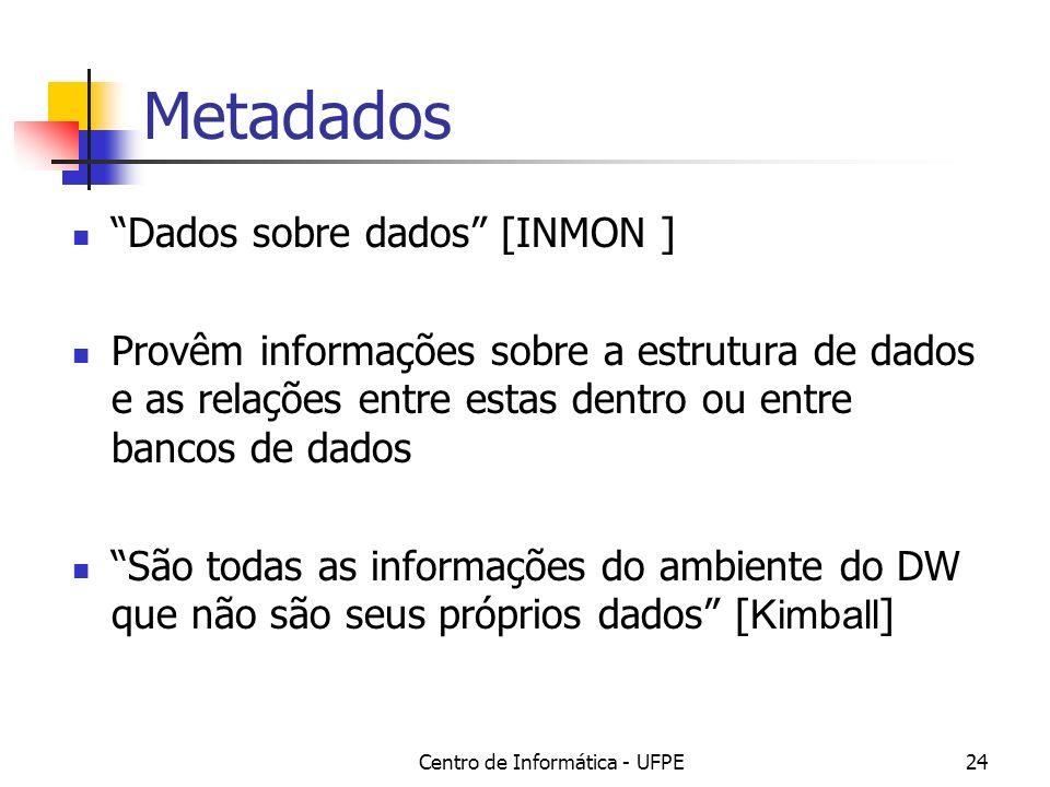 Centro de Informática - UFPE24 Metadados Dados sobre dados [INMON ] Provêm informações sobre a estrutura de dados e as relações entre estas dentro ou entre bancos de dados São todas as informações do ambiente do DW que não são seus próprios dados [ Kimball ]