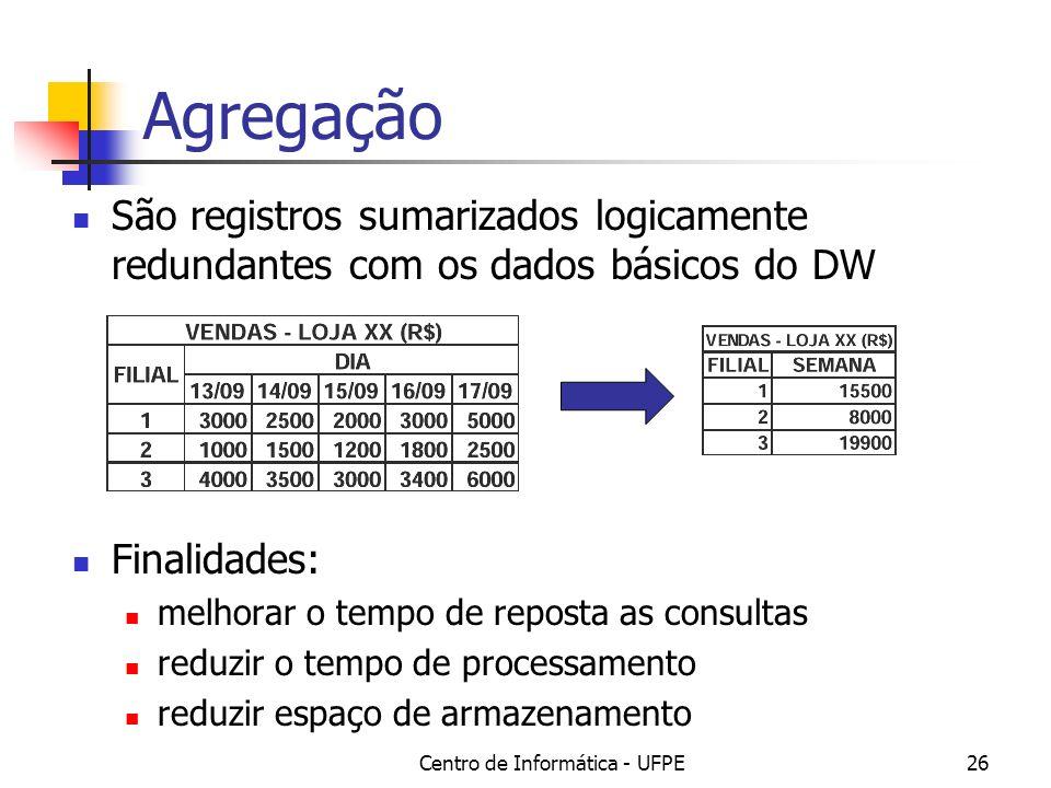 Centro de Informática - UFPE26 Agregação São registros sumarizados logicamente redundantes com os dados básicos do DW Finalidades: melhorar o tempo de reposta as consultas reduzir o tempo de processamento reduzir espaço de armazenamento