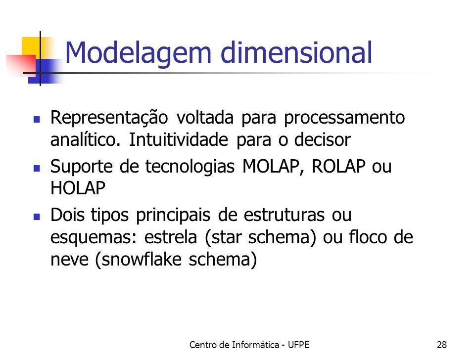 Centro de Informática - UFPE28 Modelagem dimensional Representação voltada para processamento analítico. Intuitividade para o decisor Suporte de tecno