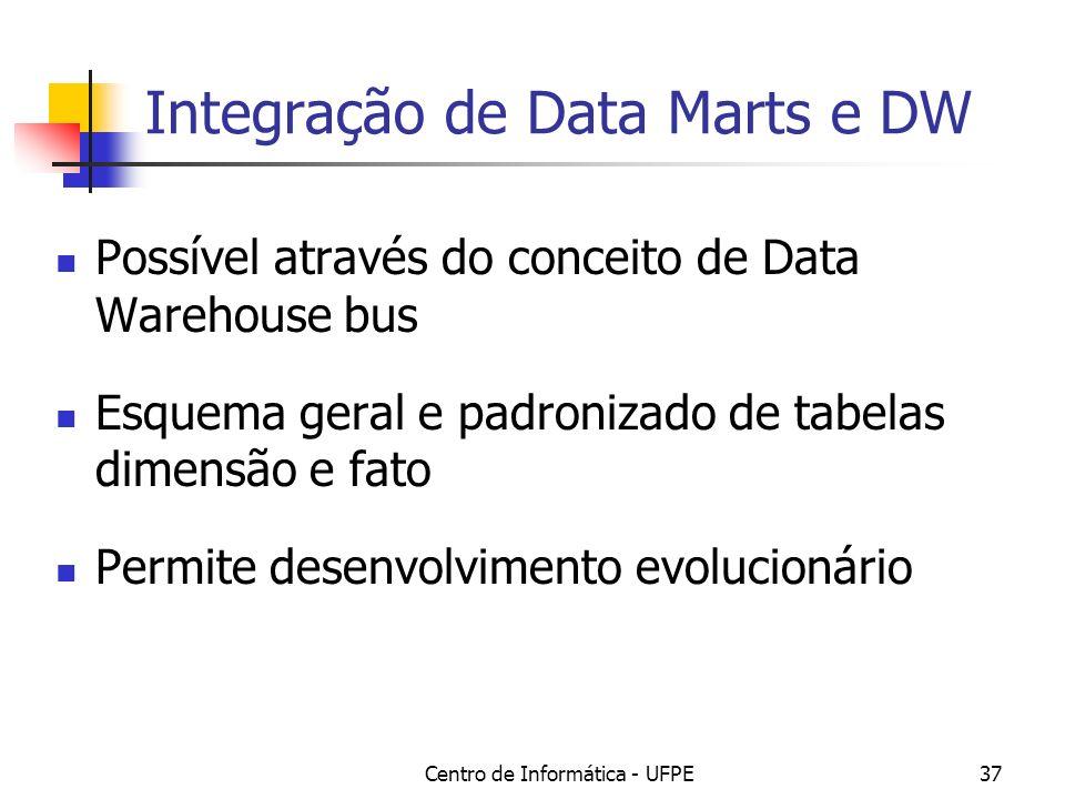 Centro de Informática - UFPE37 Integração de Data Marts e DW Possível através do conceito de Data Warehouse bus Esquema geral e padronizado de tabelas dimensão e fato Permite desenvolvimento evolucionário
