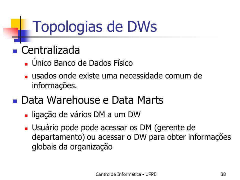 Centro de Informática - UFPE38 Topologias de DWs Centralizada Único Banco de Dados Físico usados onde existe uma necessidade comum de informações. Dat