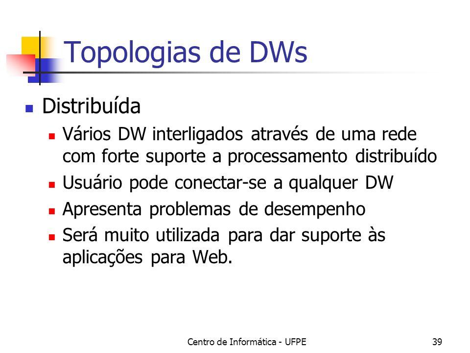 Centro de Informática - UFPE39 Topologias de DWs Distribuída Vários DW interligados através de uma rede com forte suporte a processamento distribuído Usuário pode conectar-se a qualquer DW Apresenta problemas de desempenho Será muito utilizada para dar suporte às aplicações para Web.