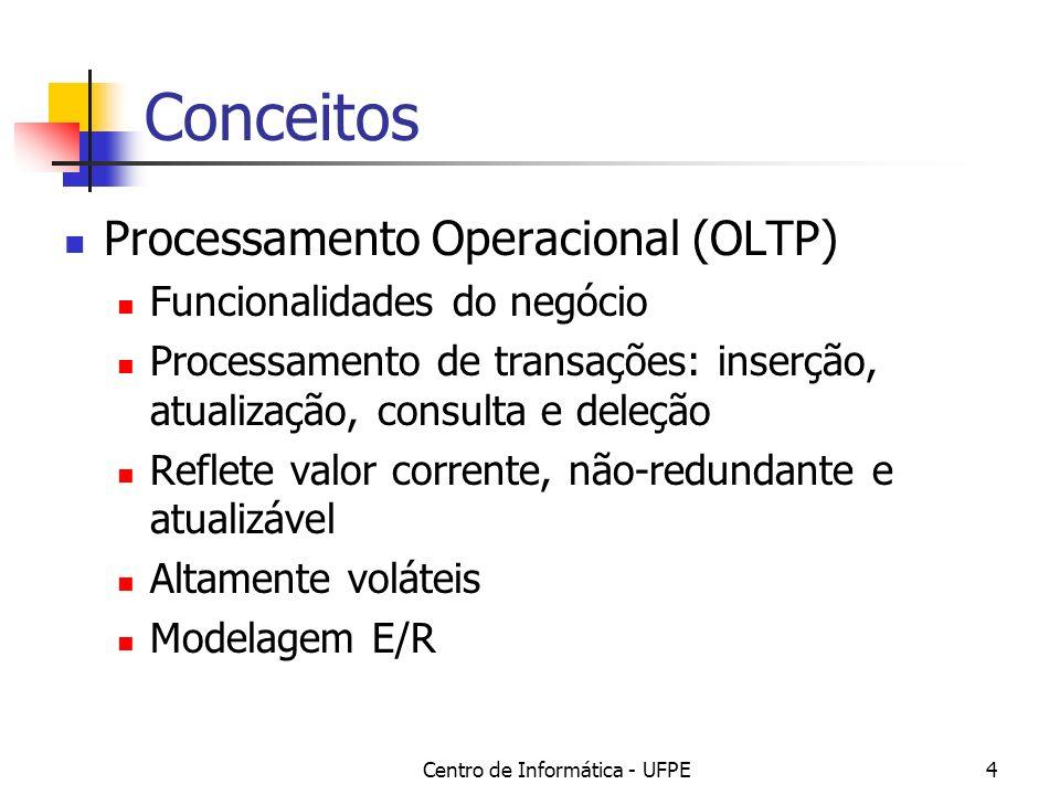 Centro de Informática - UFPE4 Conceitos Processamento Operacional (OLTP) Funcionalidades do negócio Processamento de transações: inserção, atualização, consulta e deleção Reflete valor corrente, não-redundante e atualizável Altamente voláteis Modelagem E/R