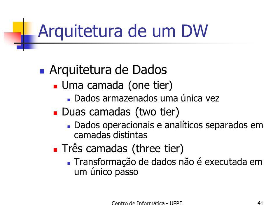 Centro de Informática - UFPE41 Arquitetura de um DW Arquitetura de Dados Uma camada (one tier) Dados armazenados uma única vez Duas camadas (two tier) Dados operacionais e analíticos separados em camadas distintas Três camadas (three tier) Transformação de dados não é executada em um único passo