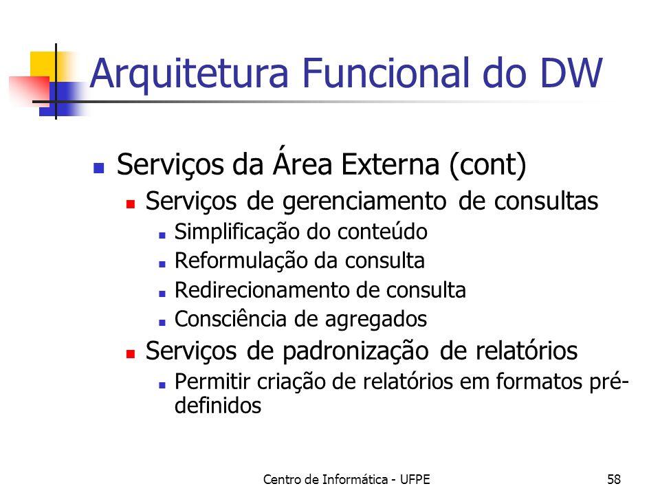 Centro de Informática - UFPE58 Arquitetura Funcional do DW Serviços da Área Externa (cont) Serviços de gerenciamento de consultas Simplificação do con