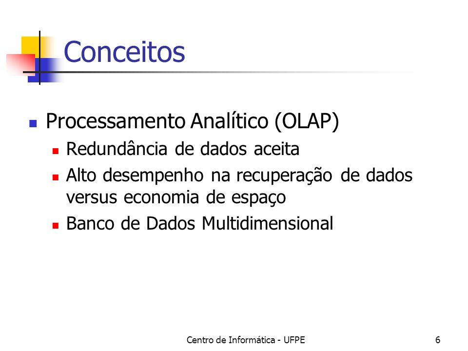Centro de Informática - UFPE6 Conceitos Processamento Analítico (OLAP) Redundância de dados aceita Alto desempenho na recuperação de dados versus econ