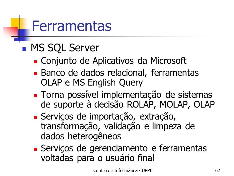 Centro de Informática - UFPE62 Ferramentas MS SQL Server Conjunto de Aplicativos da Microsoft Banco de dados relacional, ferramentas OLAP e MS English