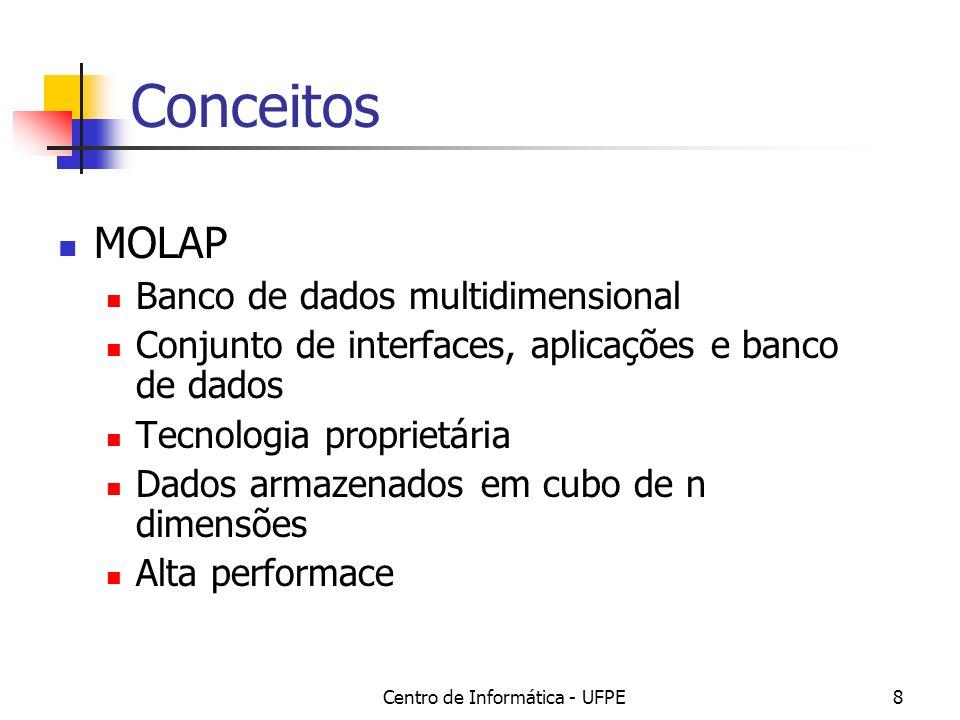 Centro de Informática - UFPE8 Conceitos MOLAP Banco de dados multidimensional Conjunto de interfaces, aplicações e banco de dados Tecnologia proprietária Dados armazenados em cubo de n dimensões Alta performace