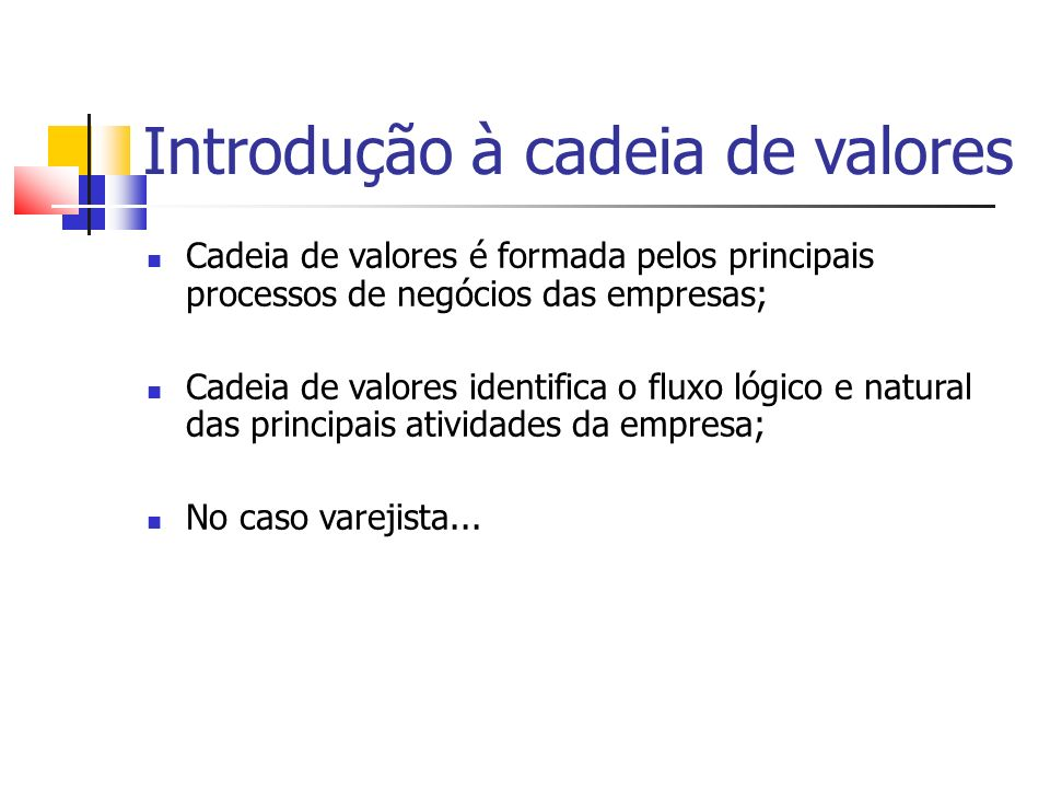 Introdução à cadeia de valores Varejista Fabricante Depósito Loja - 3 Loja - 2 Loja - 1 Pedido