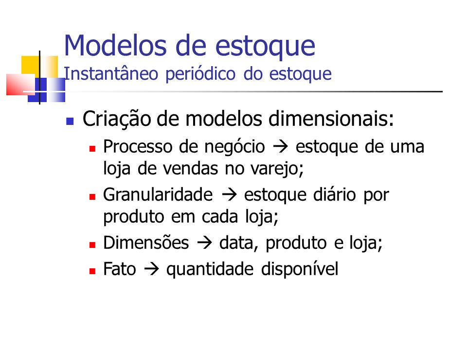 Modelos de estoque Transações de estoque