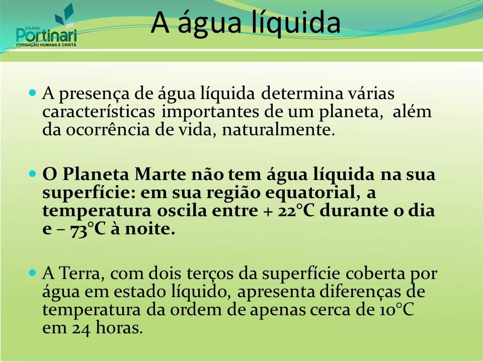 A água líquida A presença de água líquida determina várias características importantes de um planeta, além da ocorrência de vida, naturalmente. O Plan
