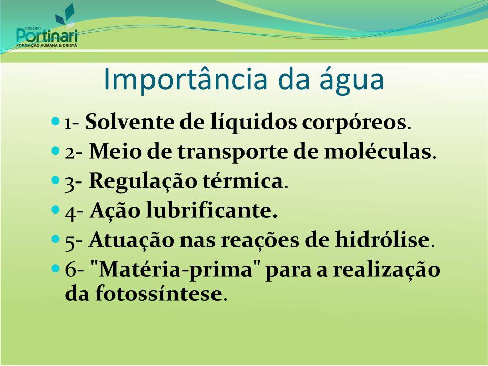 Importância da água 1- Solvente de líquidos corpóreos. 2- Meio de transporte de moléculas. 3- Regulação térmica. 4- Ação lubrificante. 5- Atuação nas