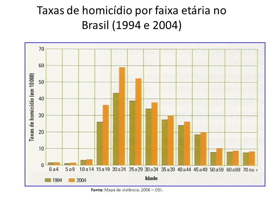 Fonte: Mapa da violência, 2006 – OEI. Taxas de homicídio por faixa etária no Brasil (1994 e 2004)