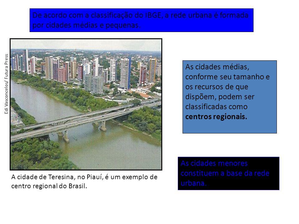A cidade de Teresina, no Piauí, é um exemplo de centro regional do Brasil.
