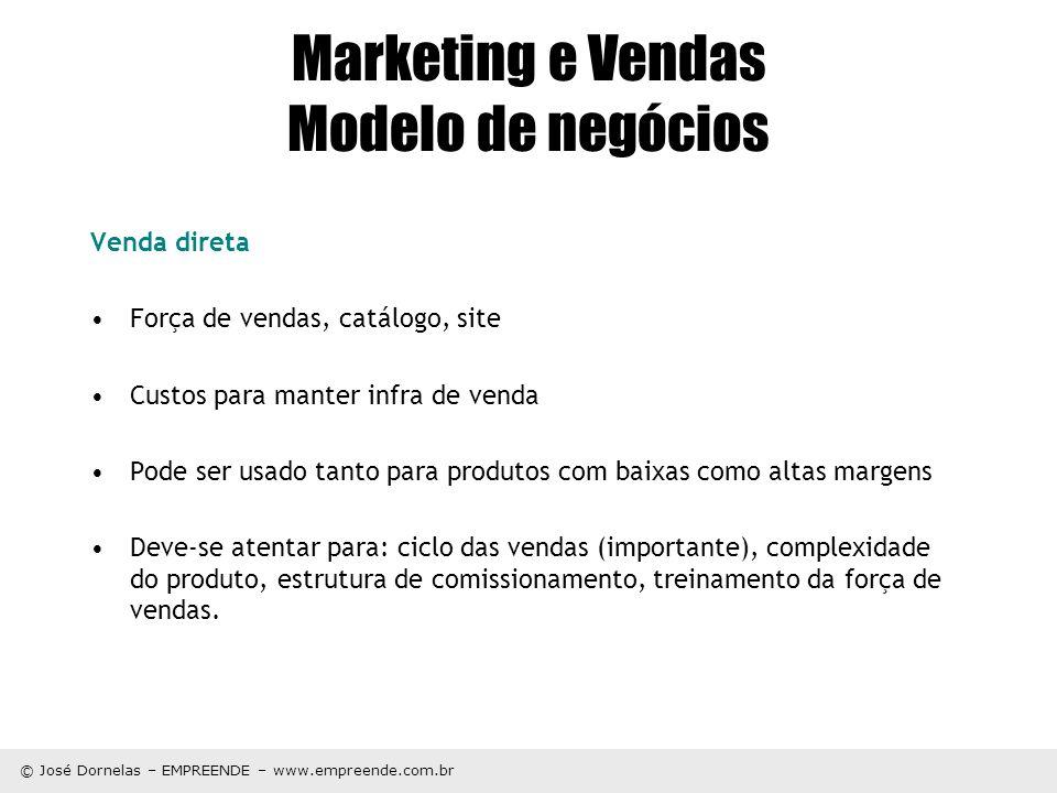 © José Dornelas – EMPREENDE – www.empreende.com.br Marketing e Vendas Modelo de negócios Venda direta Força de vendas, catálogo, site Custos para mant