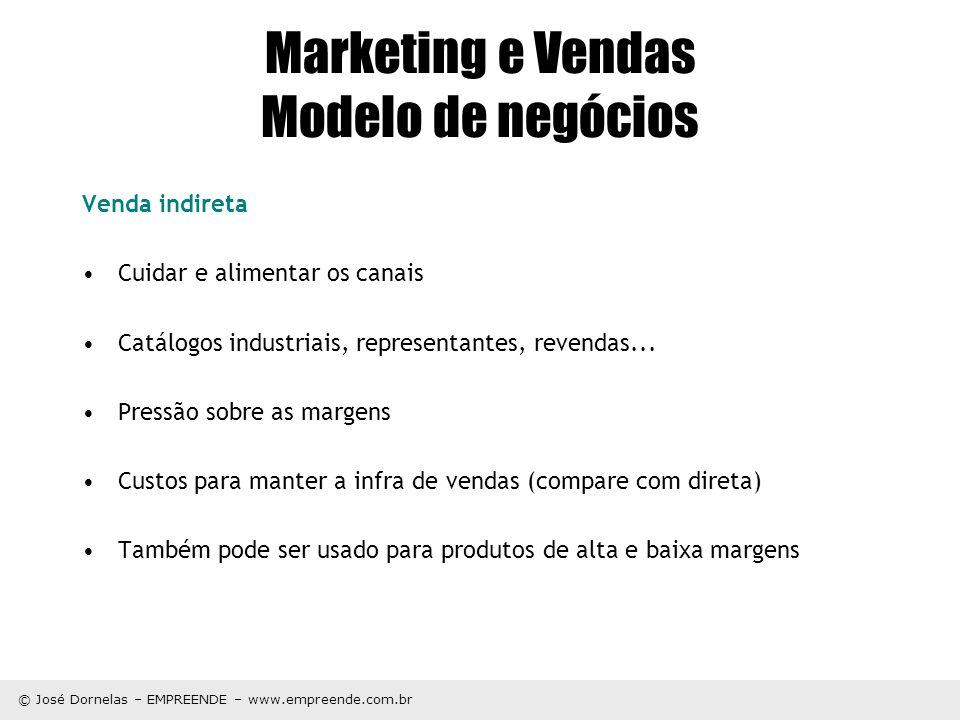 © José Dornelas – EMPREENDE – www.empreende.com.br Marketing e Vendas Modelo de negócios Venda indireta Cuidar e alimentar os canais Catálogos industr
