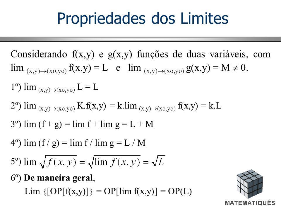 Propriedades dos Limites Considerando f(x,y) e g(x,y) funções de duas variáveis, com lim (x,y) (xo,yo) f(x,y) = L e lim (x,y) (xo,yo) g(x,y) = M 0. 1º