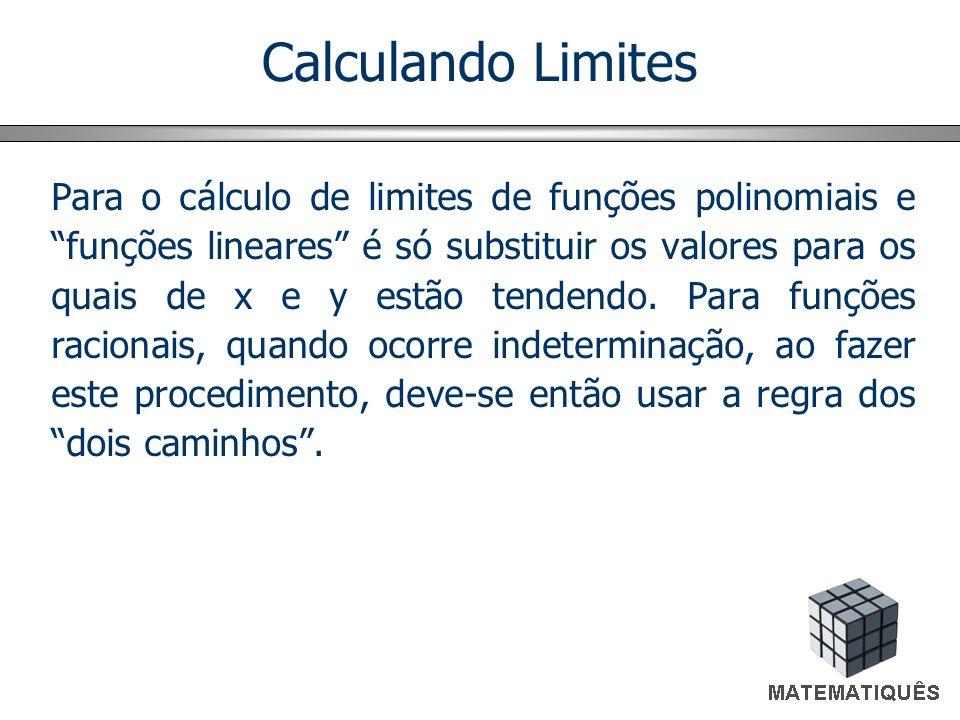 Calculando Limites Para o cálculo de limites de funções polinomiais e funções lineares é só substituir os valores para os quais de x e y estão tendend