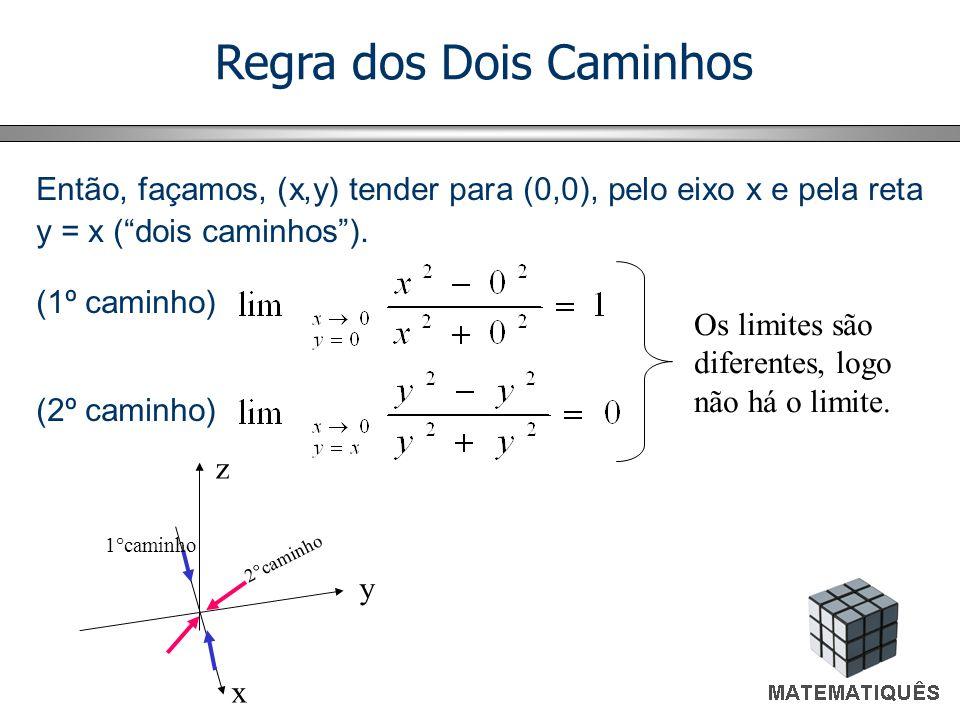 Regra dos Dois Caminhos Então, façamos, (x,y) tender para (0,0), pelo eixo x e pela reta y = x (dois caminhos). (1º caminho) (2º caminho) Os limites s