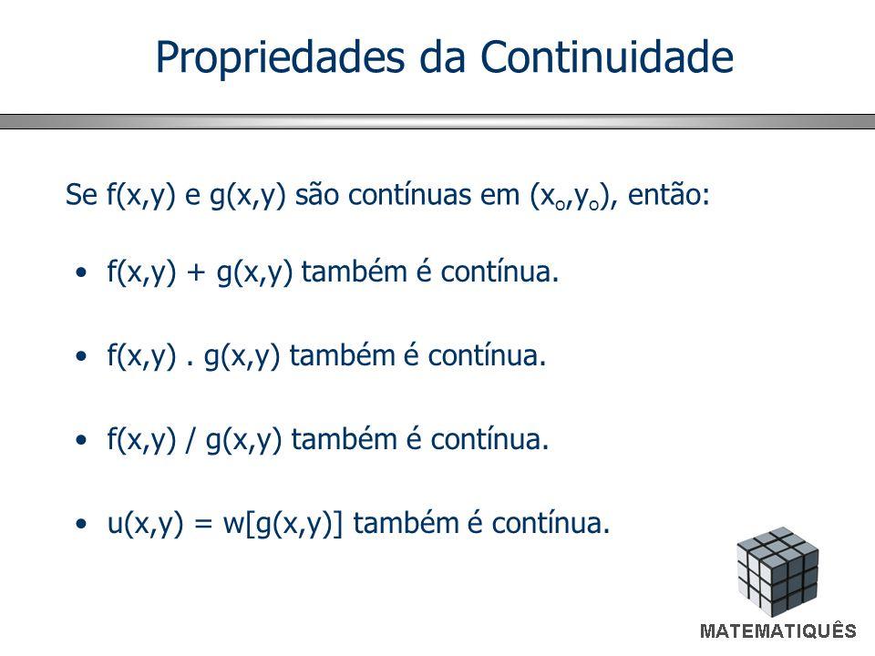 Propriedades da Continuidade f(x,y) + g(x,y) também é contínua. f(x,y). g(x,y) também é contínua. f(x,y) / g(x,y) também é contínua. u(x,y) = w[g(x,y)