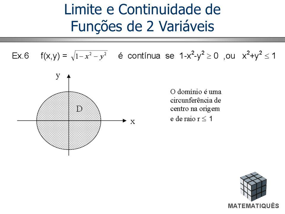 Continuidade de Funções de Várias Variáveis O conceito de continuidade de uma função f(x,y) é o mesmo já descrito para funções ordinárias.