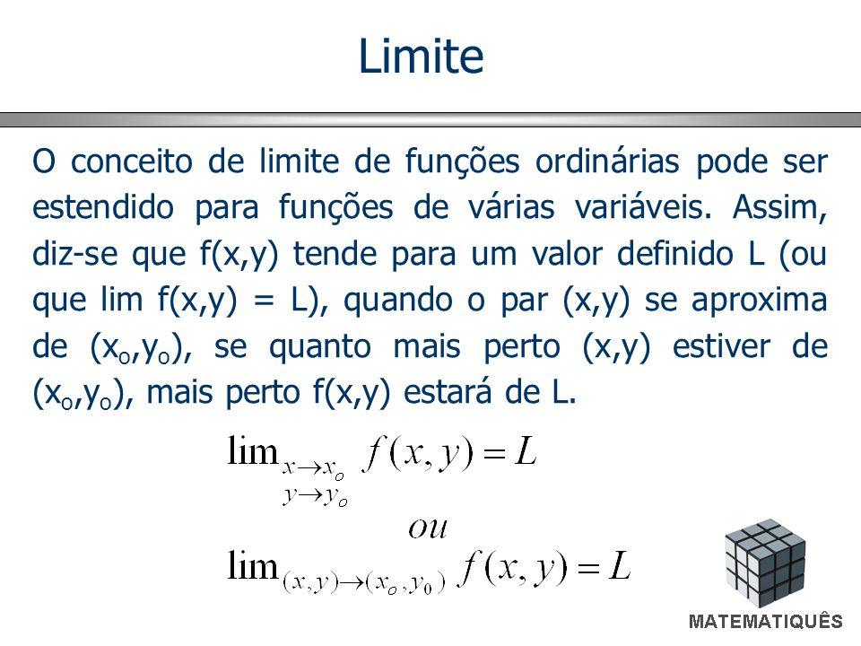 Limite O conceito de limite de funções ordinárias pode ser estendido para funções de várias variáveis. Assim, diz-se que f(x,y) tende para um valor de