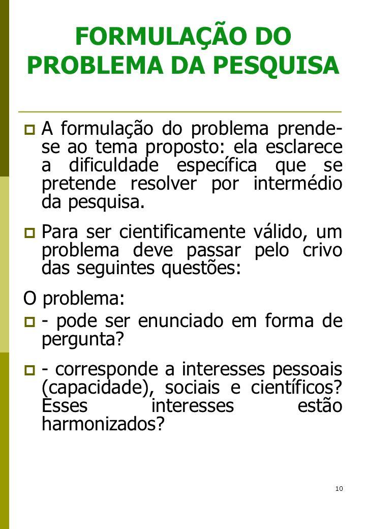 10 FORMULAÇÃO DO PROBLEMA DA PESQUISA A formulação do problema prende- se ao tema proposto: ela esclarece a dificuldade específica que se pretende res