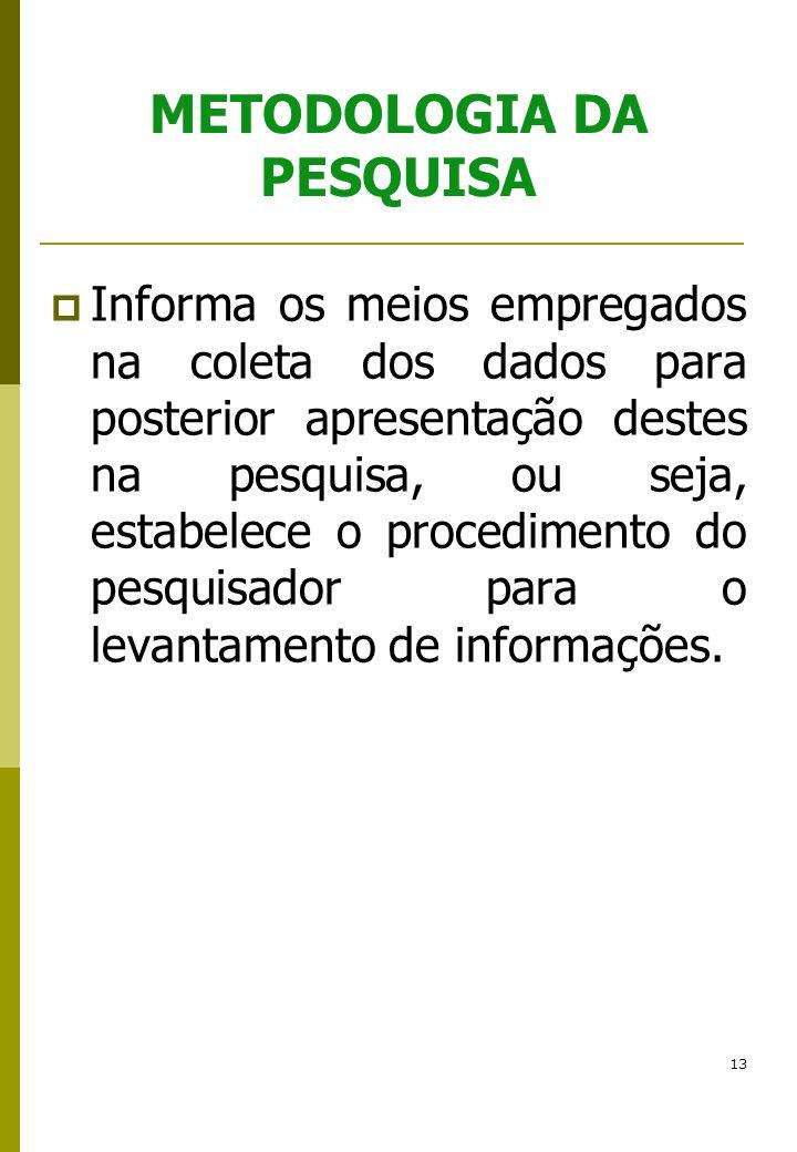 13 METODOLOGIA DA PESQUISA Informa os meios empregados na coleta dos dados para posterior apresentação destes na pesquisa, ou seja, estabelece o proce
