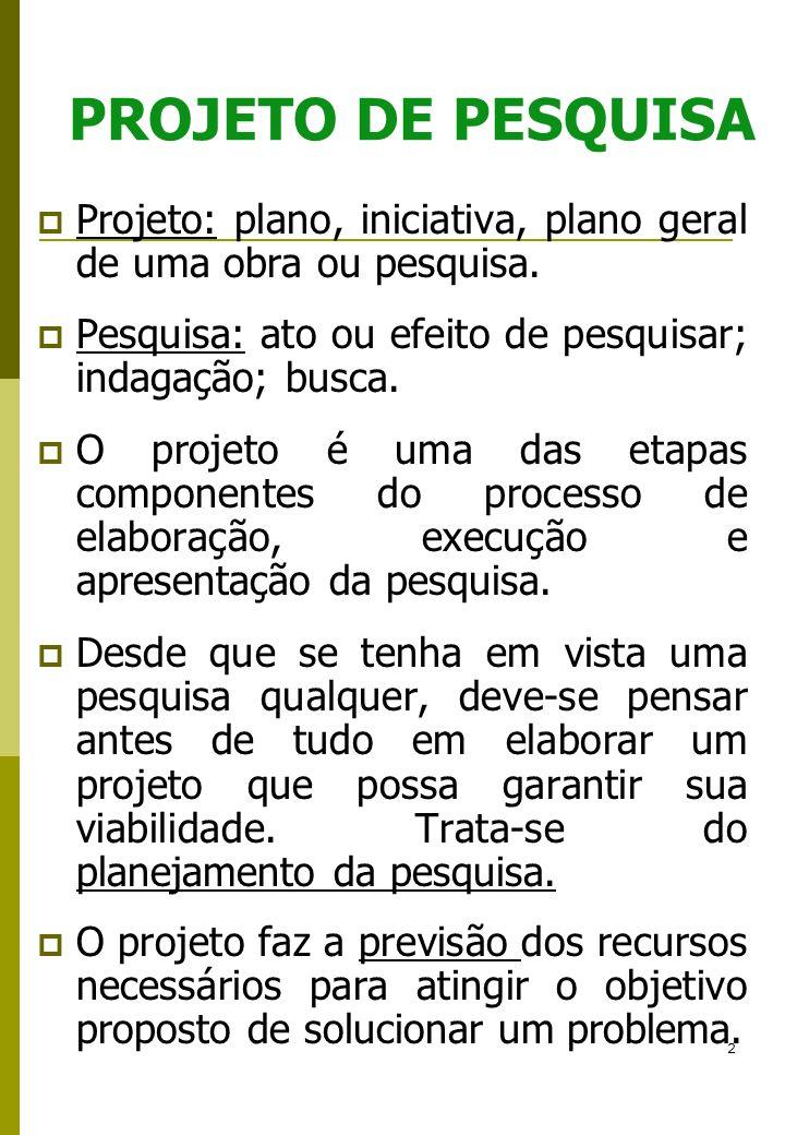 2 PROJETO DE PESQUISA Projeto: plano, iniciativa, plano geral de uma obra ou pesquisa. Pesquisa: ato ou efeito de pesquisar; indagação; busca. O proje