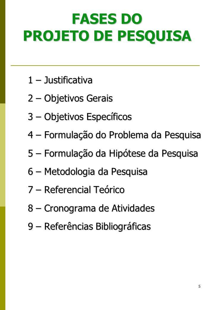 5 FASES DO PROJETO DE PESQUISA 1 – Justificativa 2 – Objetivos Gerais 3 – Objetivos Específicos 4 – Formulação do Problema da Pesquisa 5 – Formulação