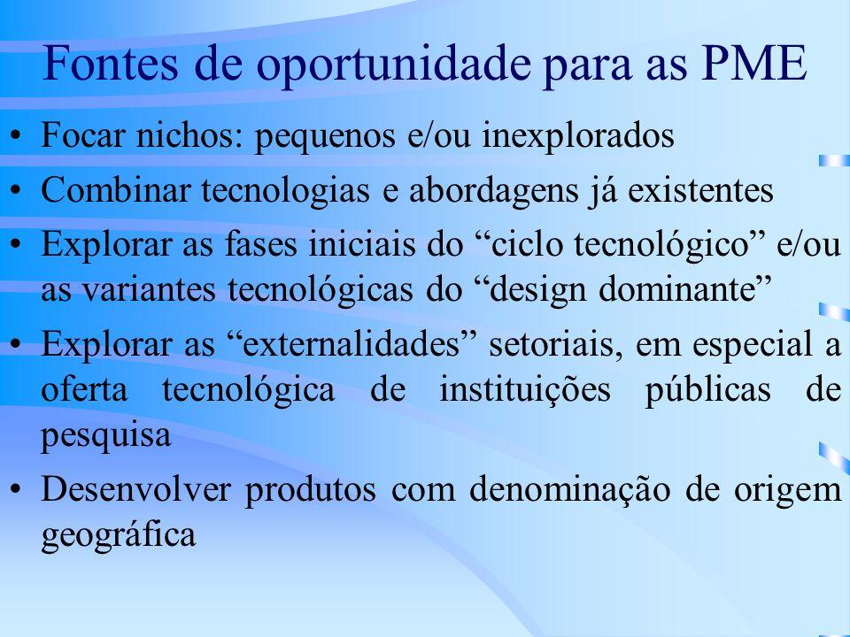 Fontes de oportunidade para as PME Focar nichos: pequenos e/ou inexplorados Combinar tecnologias e abordagens já existentes Explorar as fases iniciais