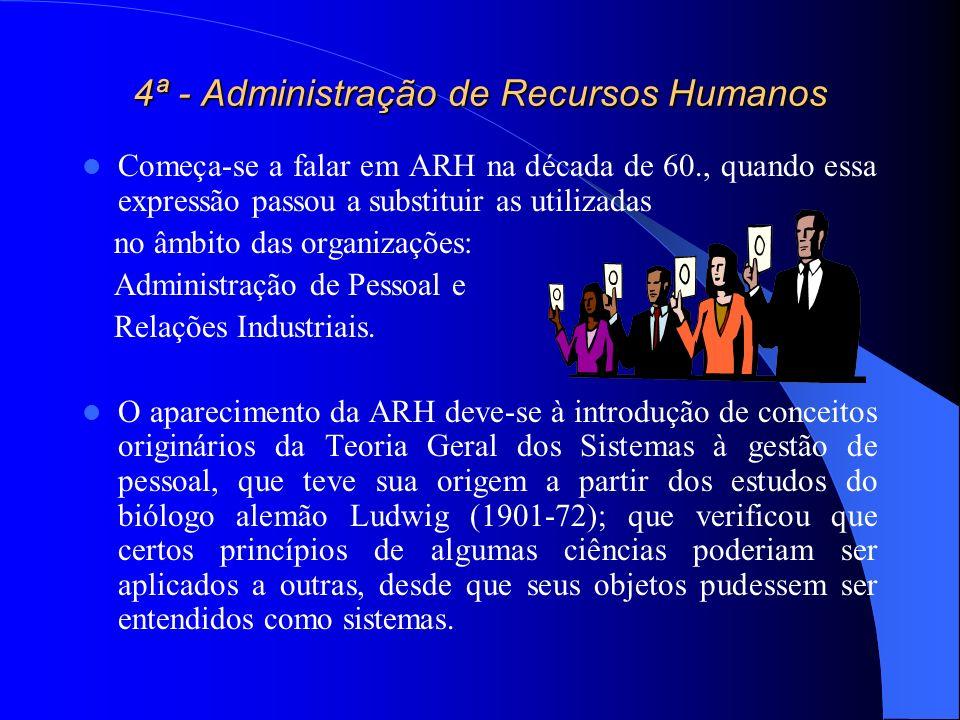 4ª - Administração de Recursos Humanos Começa-se a falar em ARH na década de 60., quando essa expressão passou a substituir as utilizadas no âmbito da