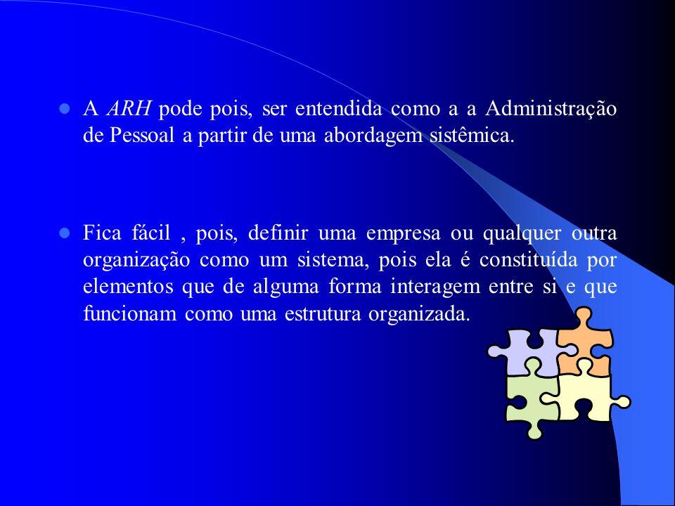 A ARH pode pois, ser entendida como a a Administração de Pessoal a partir de uma abordagem sistêmica. Fica fácil, pois, definir uma empresa ou qualque