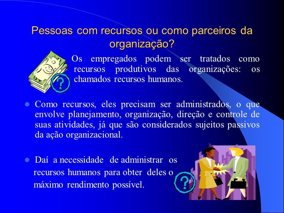 Pessoas com recursos ou como parceiros da organização? Os empregados podem ser tratados como recursos produtivos das organizações: os chamados recurso