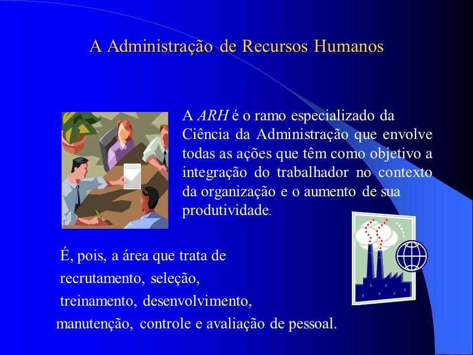 A Administração de Recursos Humanos A ARH é o ramo especializado da Ciência da Administração que envolve todas as ações que têm como objetivo a integr
